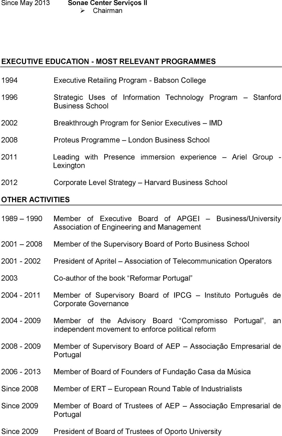 Corporate Level Strategy Harvard Business School OTHER ACTIVITIES 1989 1990 Member of Executive Board of APGEI Business/University Association of Engineering and Management 2001 2008 Member of the