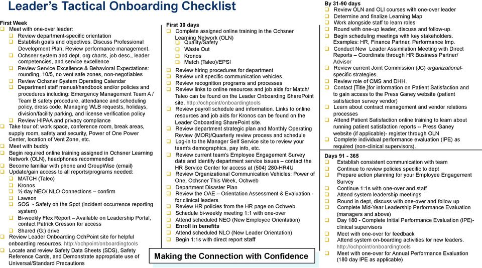 , leader competencies, and service excellence q Review Service Excellence & Behavioral Expectations: rounding, 10/5, no vent safe zones, non-negotiables q Review Ochsner System Operating Calendar q