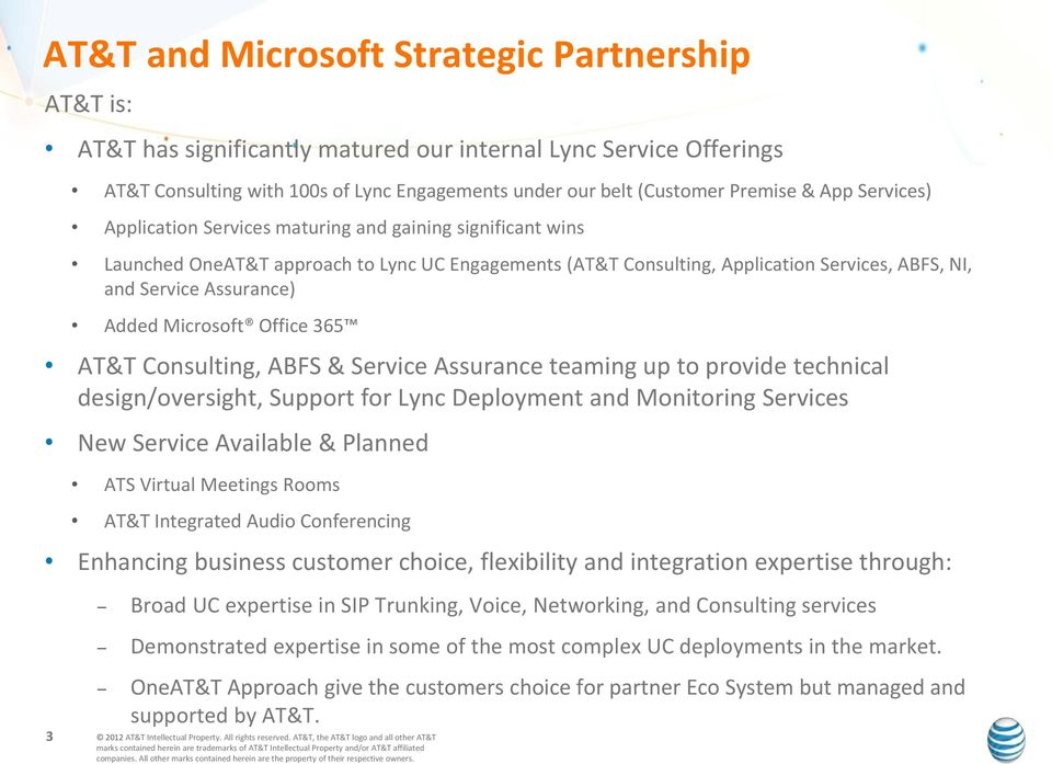 Added Microsoft Office 365 AT&T Consulting, ABFS & Service Assurance teaming up to provide technical design/oversight, Support for Lync Deployment and Monitoring Services New Service Available &
