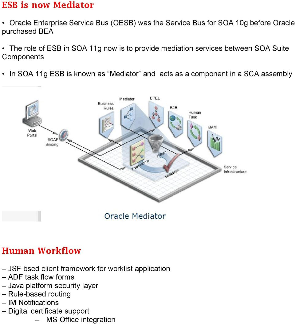 Mediator and acts as a component in a SCA assembly Human Workflow JSF bsed client framework for worklist application ADF