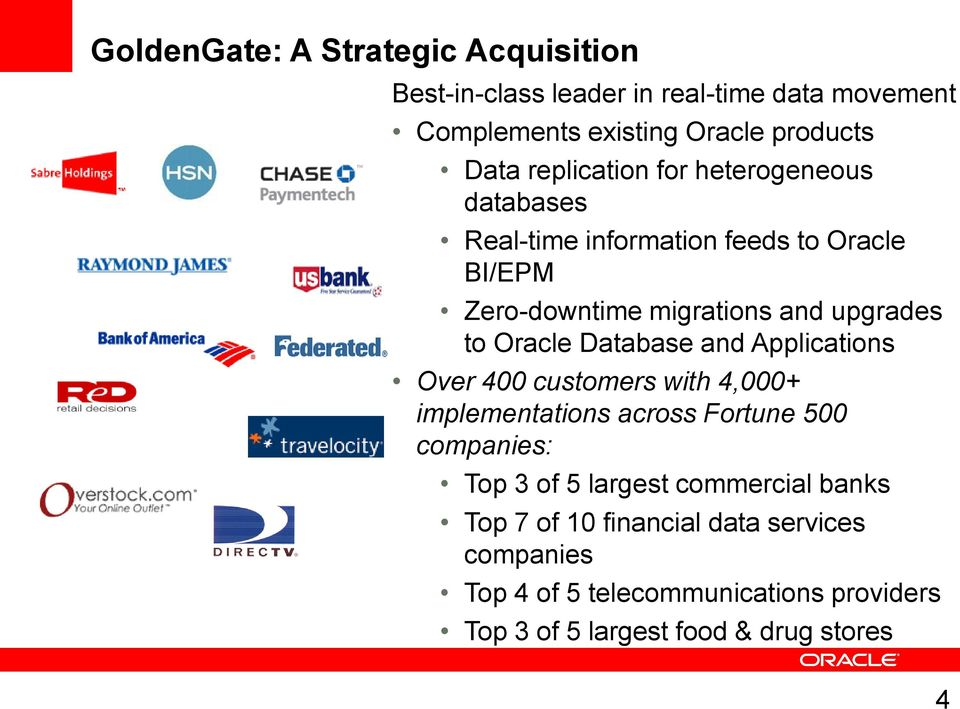 Oracle Database And Applications Over 400 Customers With 4,000+  Implementations Across Fortune 500 Companies: