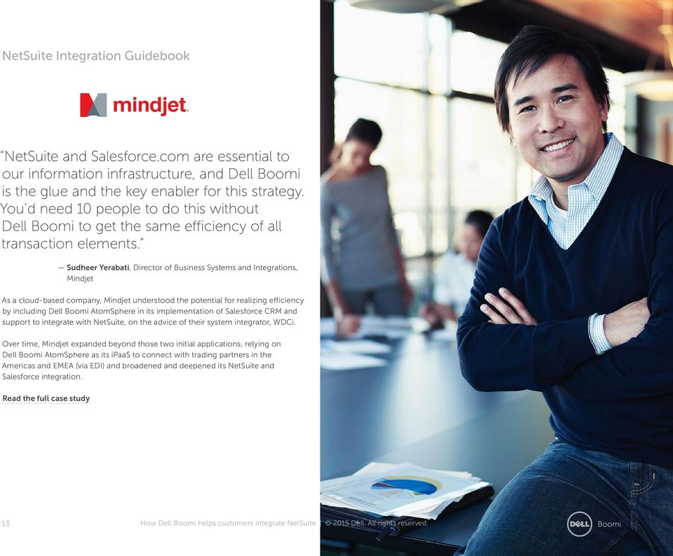 Sudheer Yerabati, Director of Business Systems and Integrations, Mindjet As a cloud-based company, Mindjet understood the potential for realizing efficiency by including Dell Boomi AtomSphere in its