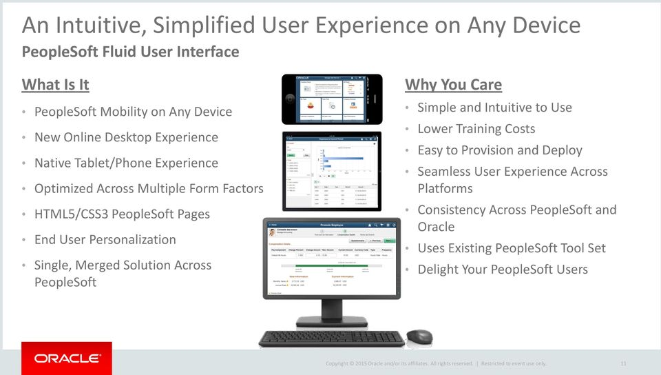Personalization Single, Merged Solution Across PeopleSoft Why You Care Simple and Intuitive to Use Lower Training Costs Easy to Provision and