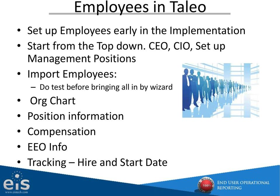 CEO, CIO, Set up Management Positions Import Employees: Do test