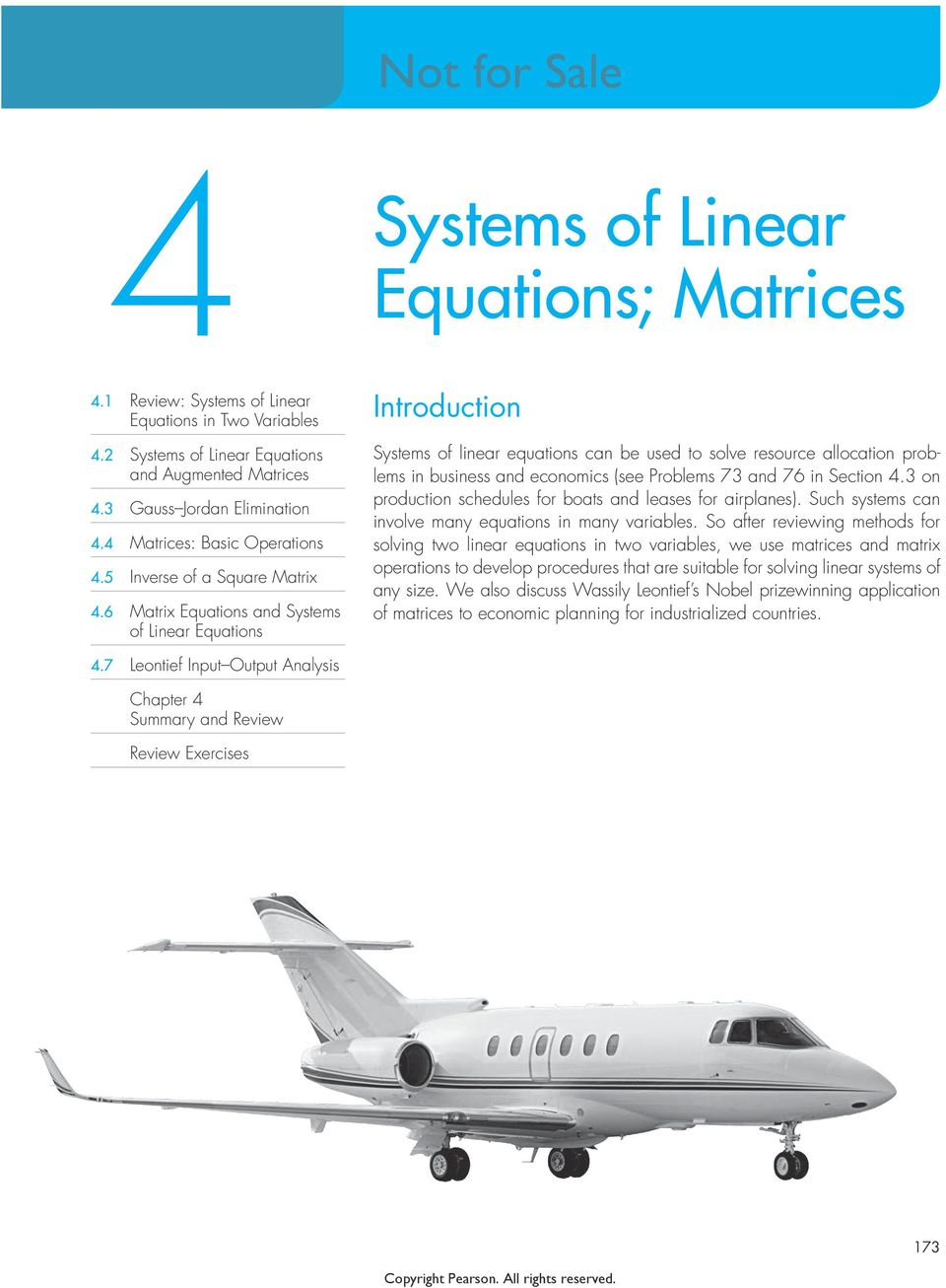 6 Matrix Equations and Systems of Linear Equations Introduction Systems of linear equations can be used to solve resource allocation problems in business and economics (see Problems 7 and 76 in