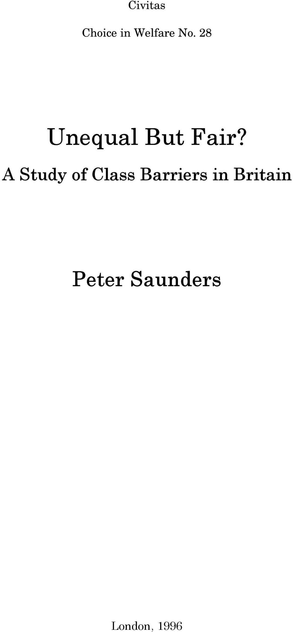 A Study of Class Barriers in