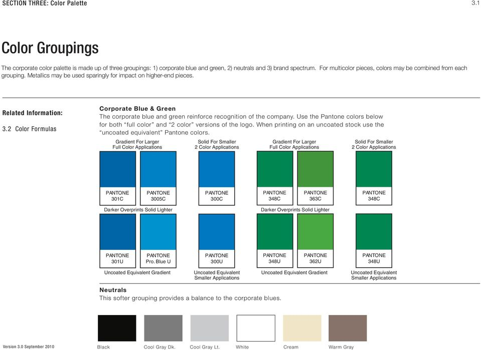 2 Color Formulas Corporate Blue & Green The corporate blue and green reinforce recognition of the company. Use the Pantone colors below for both full color and 2 color versions of the logo.