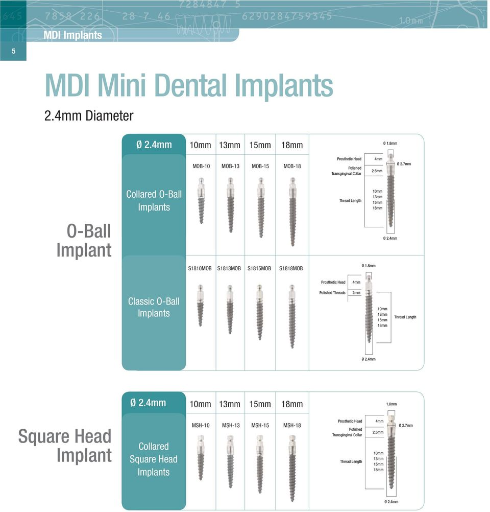 7mm Collared O-Ball Implants Thread Length O-Ball Implant Ø 2.4mm S1810MOB S1813MOB S1815MOB S1818MOB Ø 1.