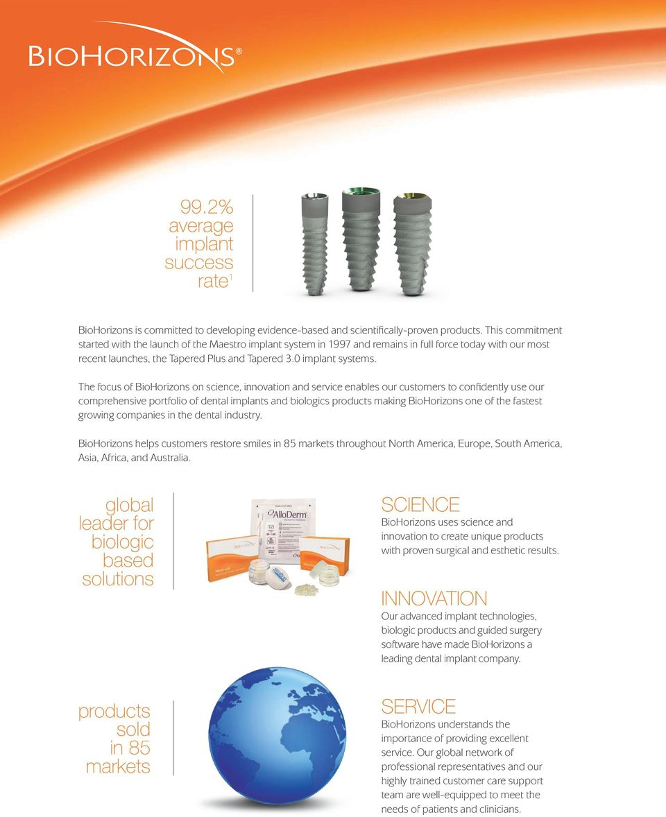 The focus of BioHorizons on science, innovation and service enables our customers to confidently use our comprehensive portfolio of dental implants and biologics products making BioHorizons one of