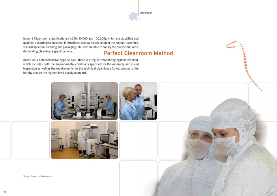 Perfect Cleanroom Method Based on a comprehensive hygiene plan, there is a regular monitoring system installed, which includes both the environmental conditions