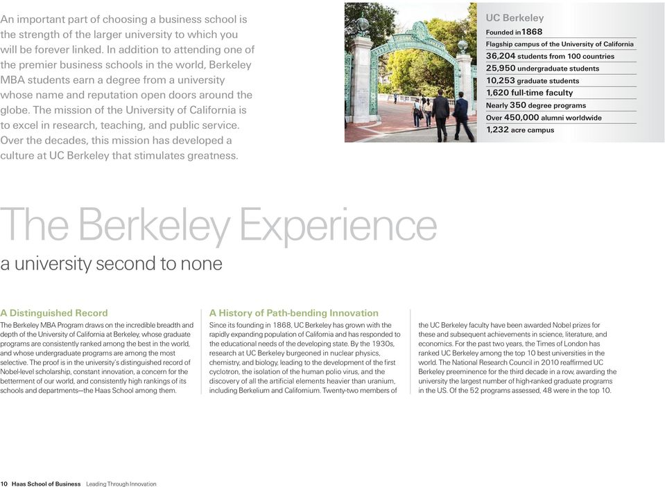 The mission of the University of California is to excel in research, teaching, and public service. Over the decades, this mission has developed a culture at UC Berkeley that stimulates greatness.