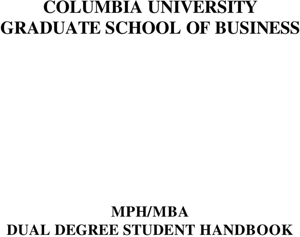 BUSINESS MPH/MBA