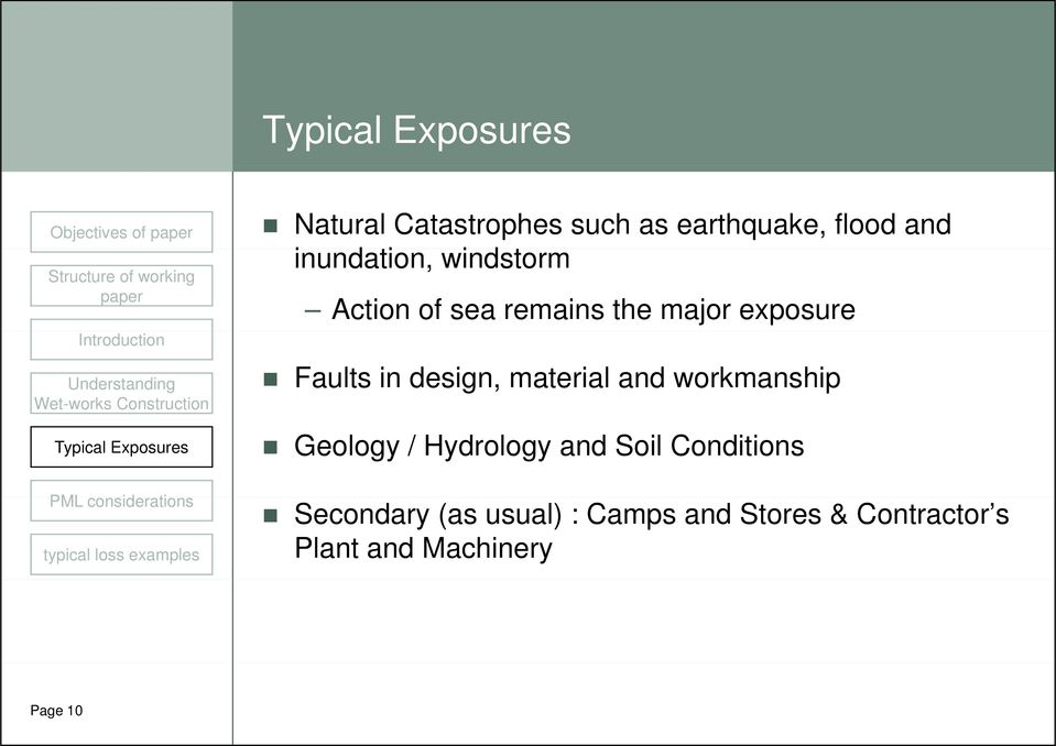 material and workmanship Geology / Hydrology and Soil Conditions