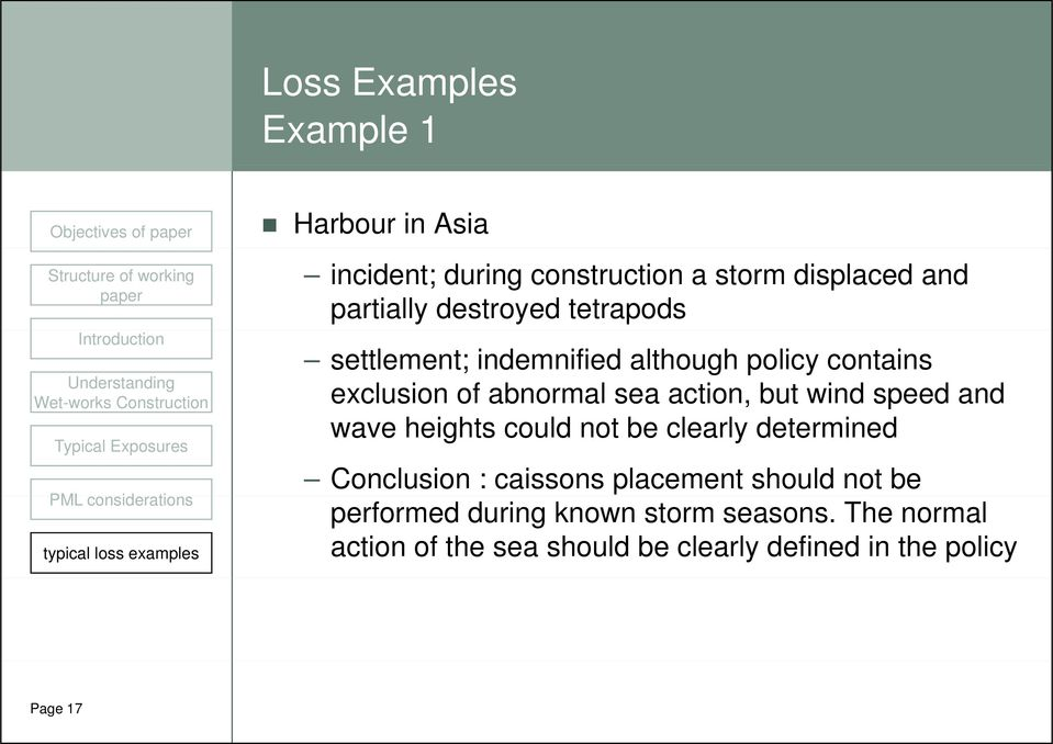 wind speed and wave heights could not be clearly determined Conclusion : caissons placement should not be