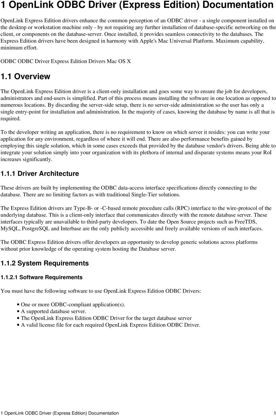 OpenLink ODBC Driver (Express Edition) User Guide - PDF