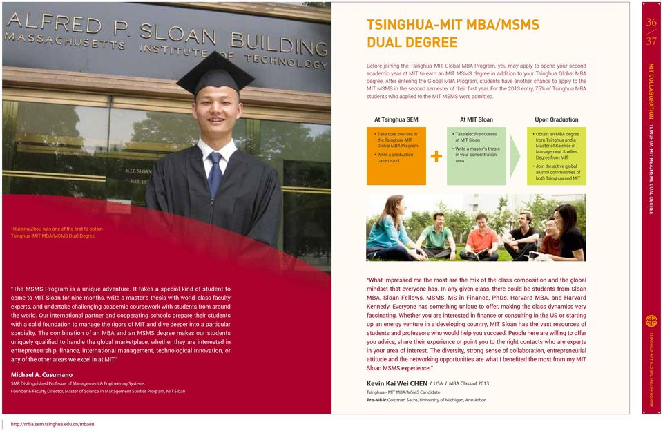 For the 2013 entry, 75% of Tsinghua MBA students who applied to the MIT MSMS were admitted.