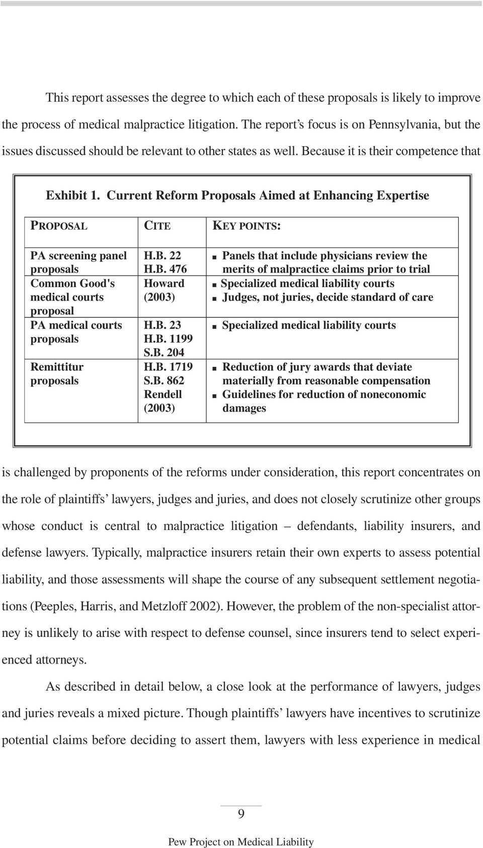 Current Reform Proposals Aimed at Enhancing Expertise PROPOSAL CITE KEY POINTS: PA screening panel proposals Common Good's medical courts proposal PA medical courts proposals Remittitur proposals H.B.
