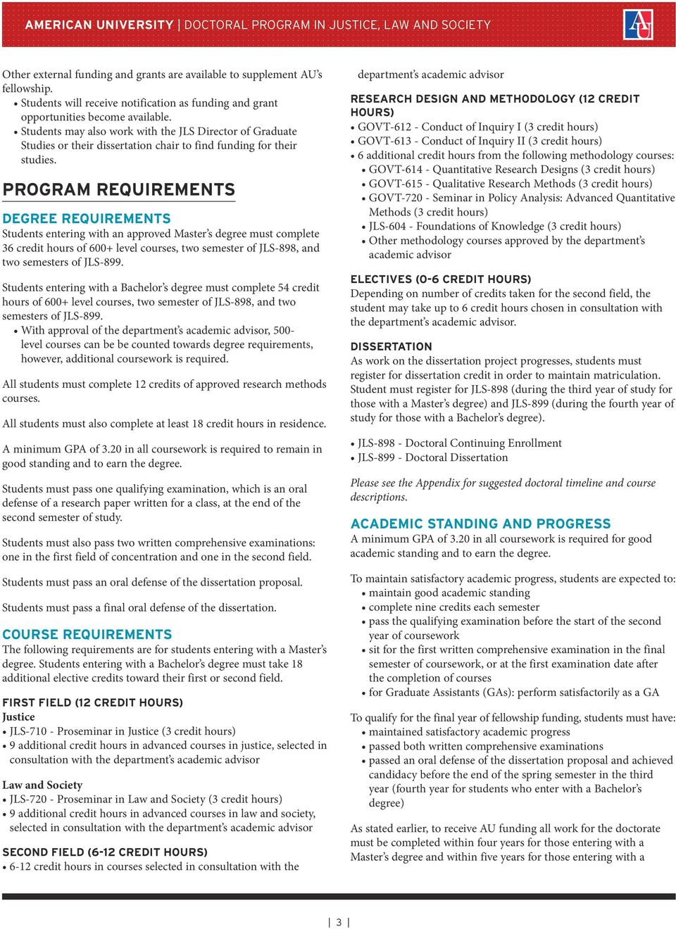 PROGRAM REQUIREMENTS DEGREE REQUIREMENTS Students entering with an approved Master s degree must complete 36 credit hours of 600+ level courses, two semester of JLS-898, and two semesters of JLS-899.