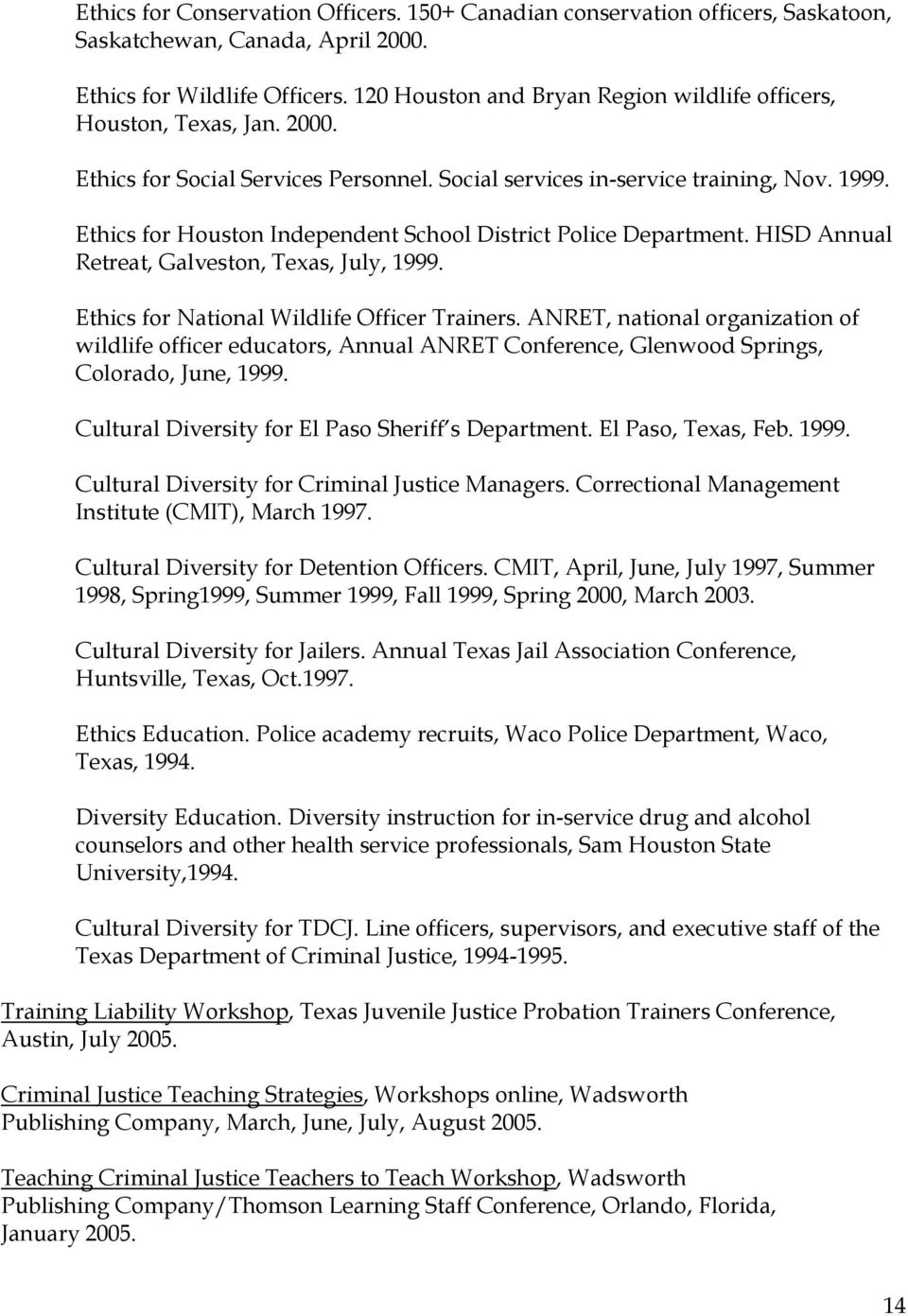 Ethics for Houston Independent School District Police Department. HISD Annual Retreat, Galveston, Texas, July, 1999. Ethics for National Wildlife Officer Trainers.