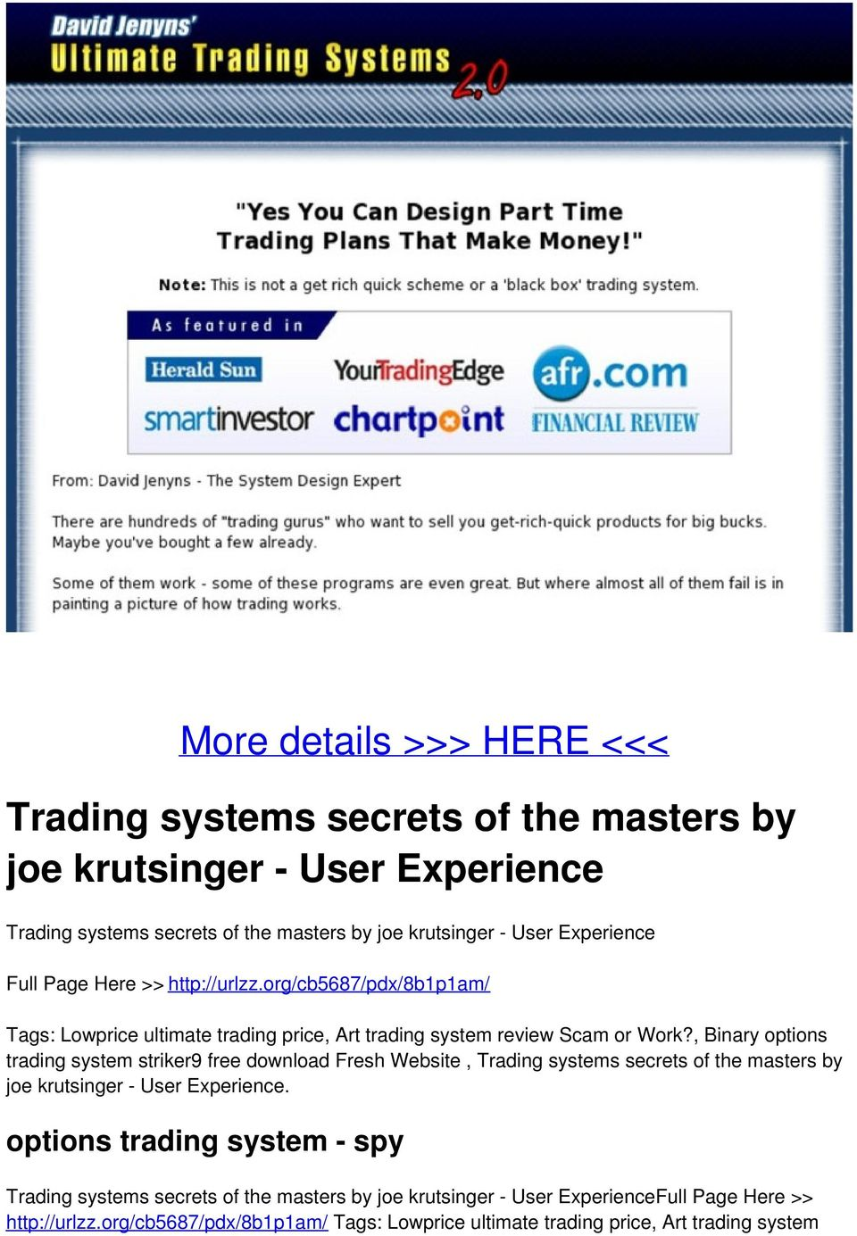 Trading system secret of the masters pdf