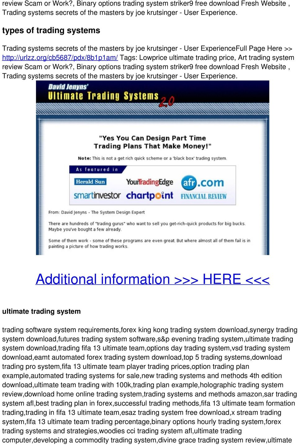Ultimate trading systems 2.0