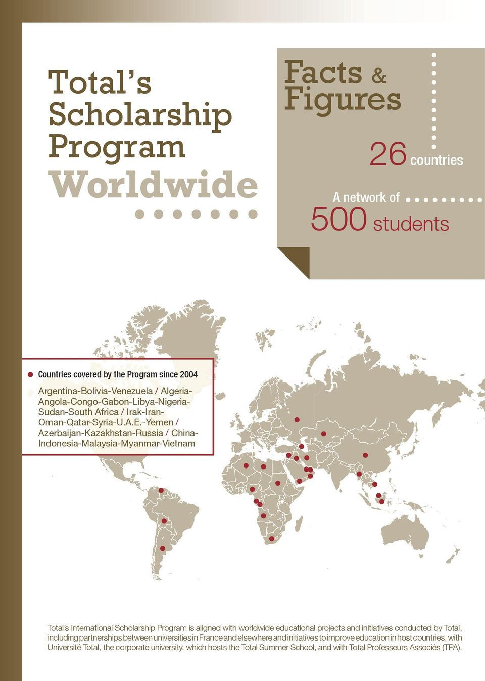 -Yemen / Azerbaijan-Kazakhstan-Russia / China- Indonesia-Malaysia-Myanmar-Vietnam Total s International Scholarship Program is aligned with worldwide educational projects and