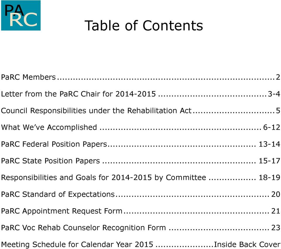 .. 6-12 PaRC Federal Position Papers... 13-14 PaRC State Position Papers.