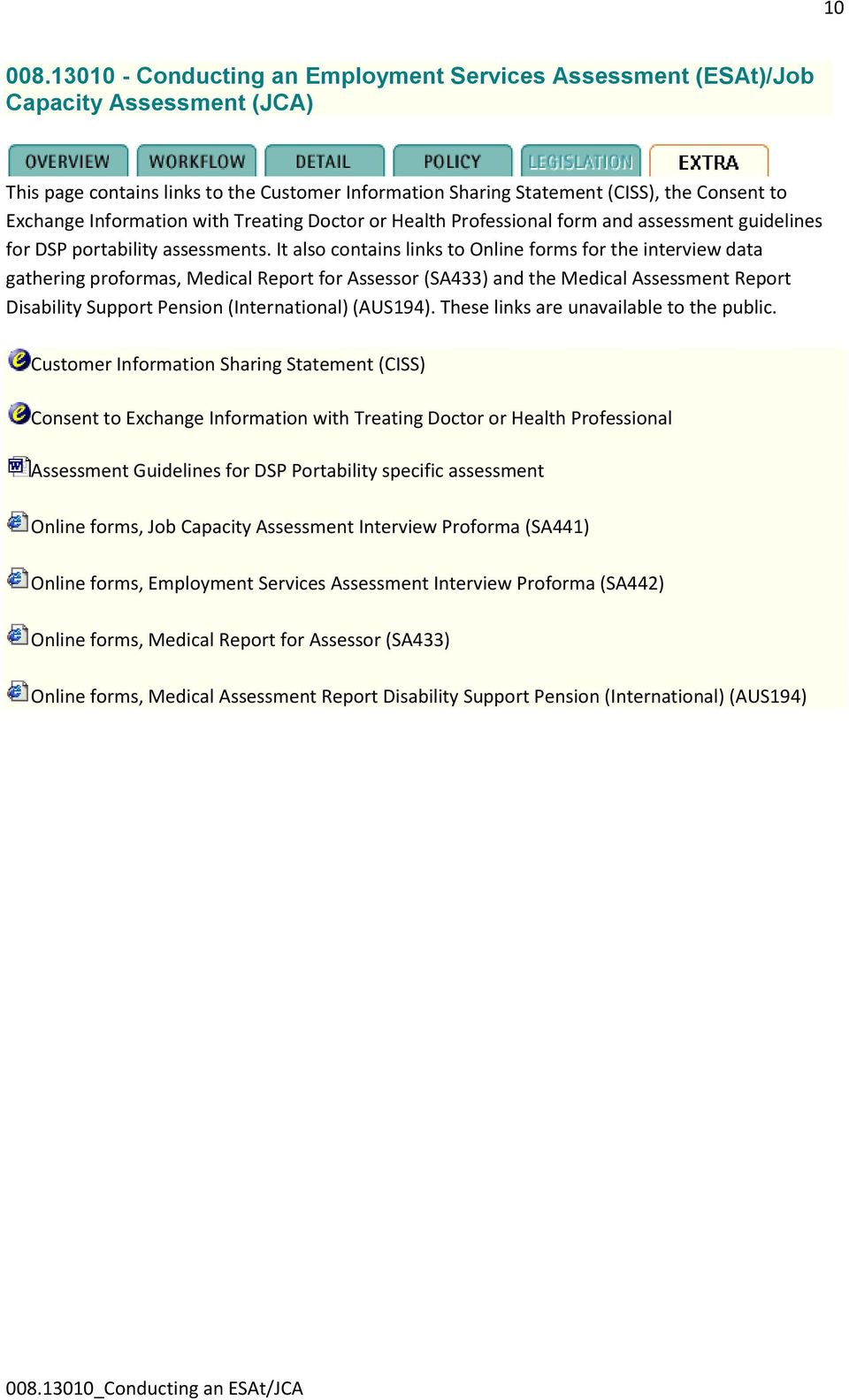 referral for an employment services assessment guidelines