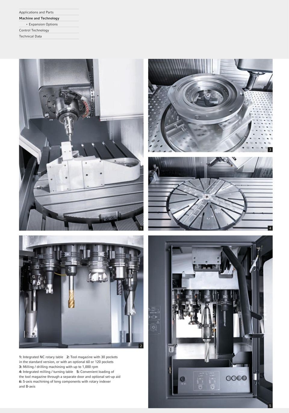 Milling / drilling machining with up to 1,000 rpm 4: Integrated milling / turning table 5: Convenient loading of the tool