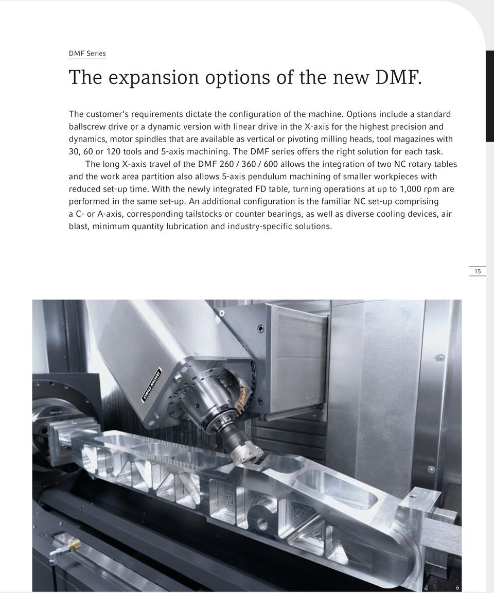 milling heads, tool magazines with 30, 60 or 120 tools and 5-axis machining. The DMF series offers the right solution for each task.