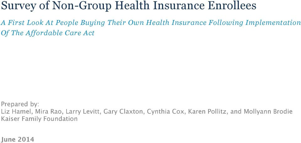 Buying Their Own Health Insurance