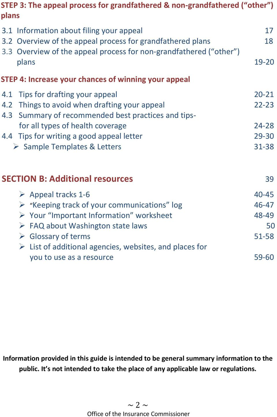 2 Things to avoid when drafting your appeal 22-23 4.3 Summary of recommended best practices and tipsfor all types of health coverage 24-28 4.