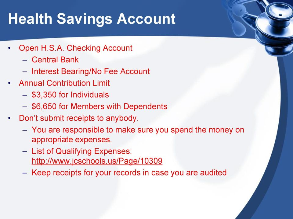 Checking Account Central Bank Interest Bearing/No Fee Account Annual Contribution Limit $3,350 for