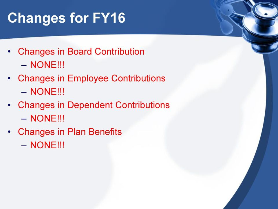 !! Changes in Employee Contributions NONE!