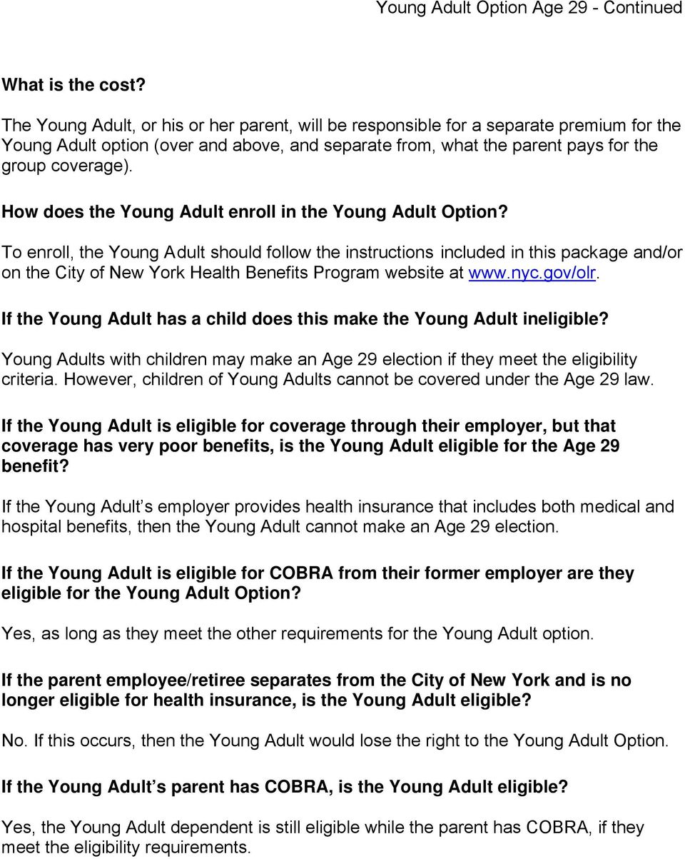 How does the Young Adult enroll in the Young Adult Option?