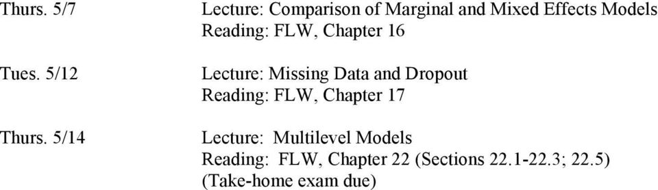 Reading: FLW, Chapter 16 Lecture: Missing Data and Dropout Reading: