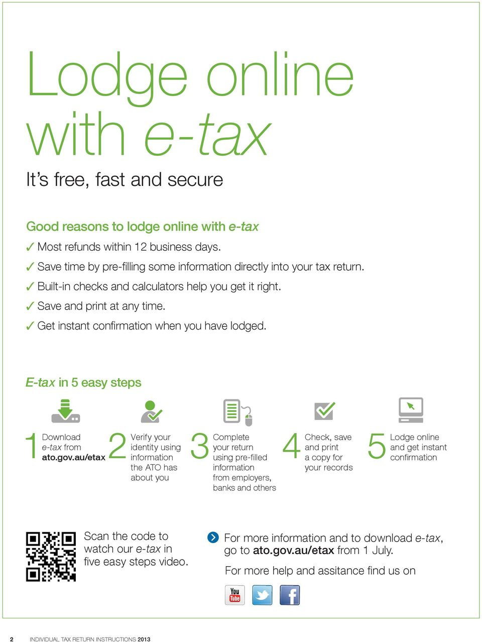 3 Get instant confirmation when you have lodged. E-tax in 5 easy steps Download your e tax from identity using ato.gov.
