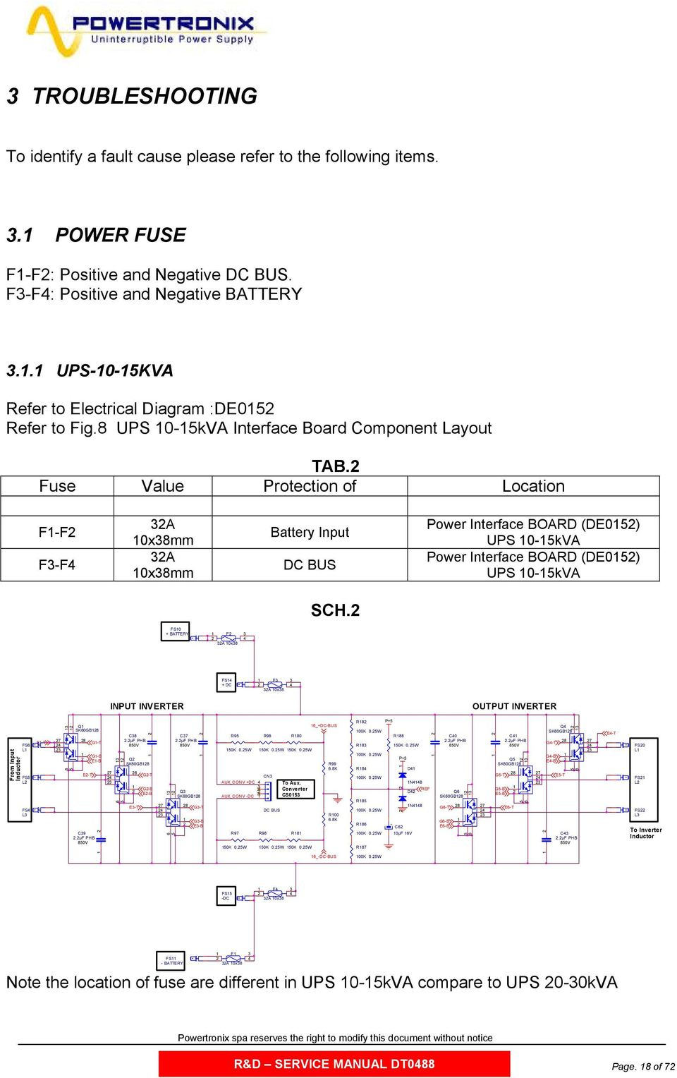 Fuse Value Protection of Location FF FF A 0xmm A 0xmm Battery Input DC BUS Power Interface BOARD (DE0) UPS 0kVA Power Interface BOARD (DE0) UPS 0kVA SCH.