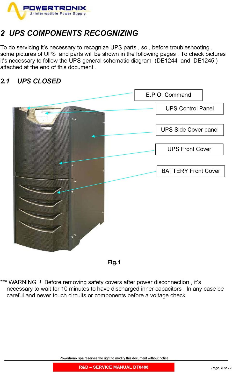 . UPS CLOSED E:P:O: Command UPS Control Panel UPS Side Cover panel UPS Front Cover BATTERY Front Cover Fig. *** WARNING!