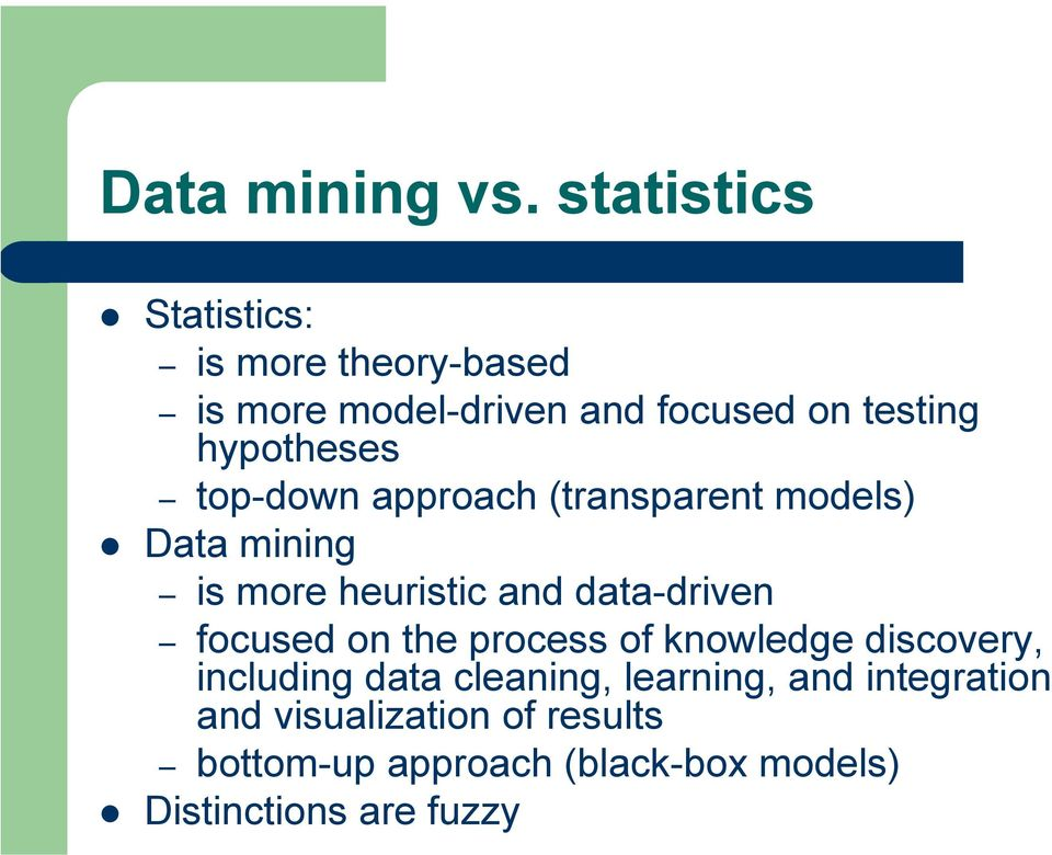 hypotheses top-down approach (transparent models) Data mining is more heuristic and data-driven