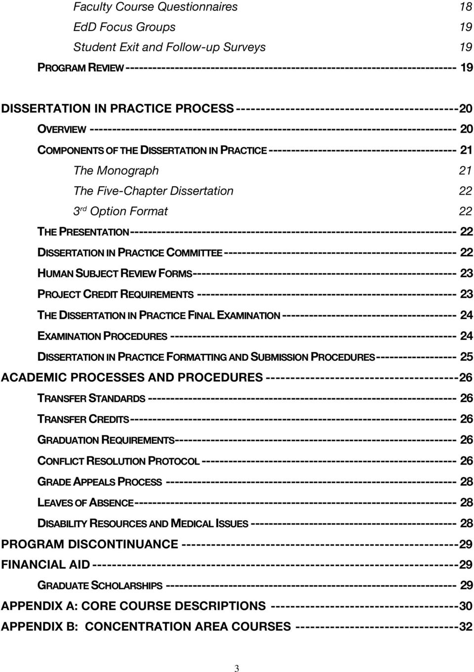 PRACTICE ------------------------------------------ 21 The Monograph 21 The Five-Chapter Dissertation 22 3 rd Option Format 22 THE PRESENTATION