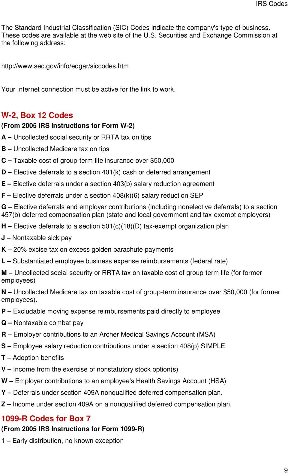 Principal Business Or Professional Activity Codes For