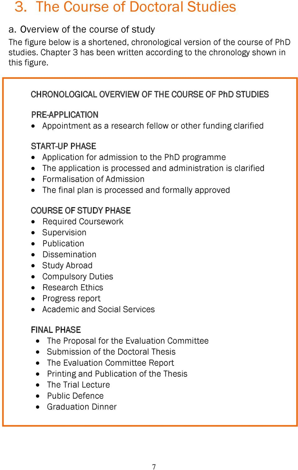 CHRONOLOGICAL OVERVIEW OF THE COURSE OF PhD STUDIES PRE-APPLICATION Appointment as a research fellow or other funding clarified START-UP PHASE Application for admission to the PhD programme The