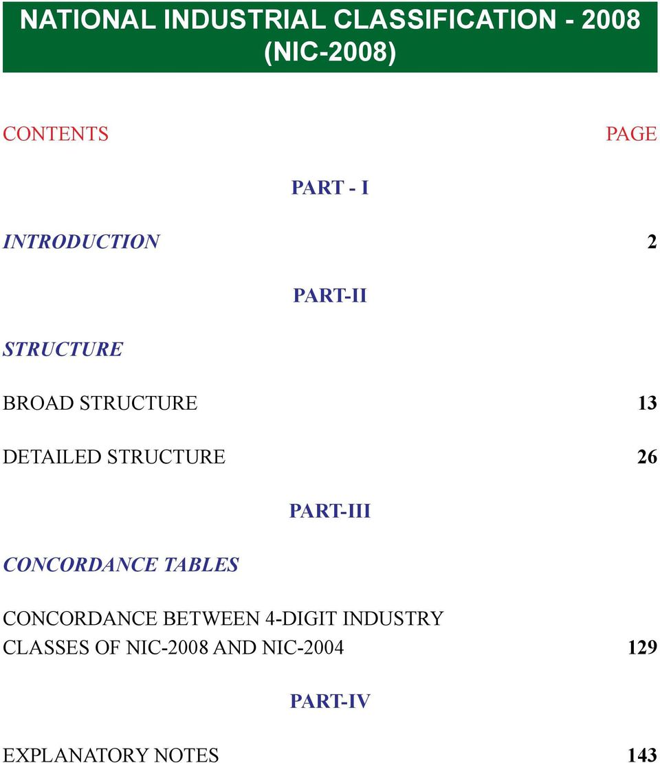 Structure 26 Concordance Tables Part-III Concordance between 4-digit