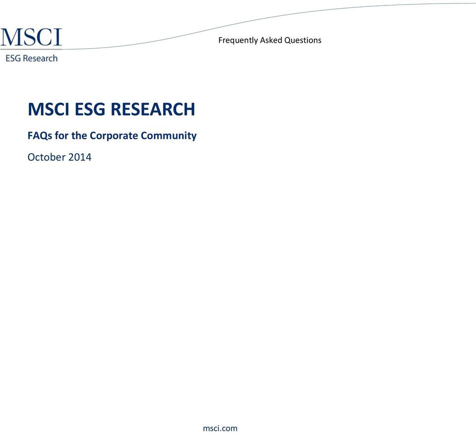 ESG RESEARCH for
