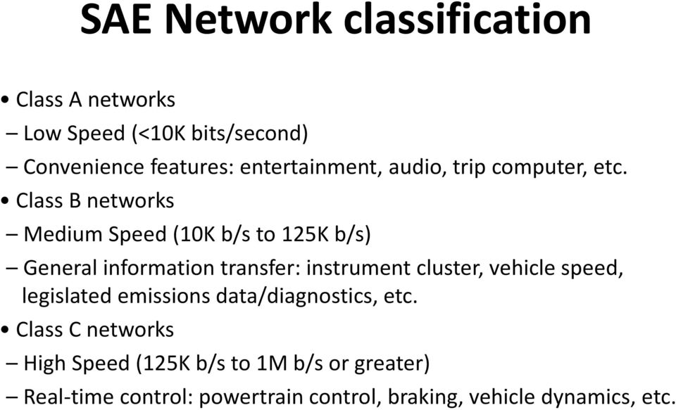 Class B networks Medium Speed (10K b/s to 125K b/s) General information transfer: instrument cluster,
