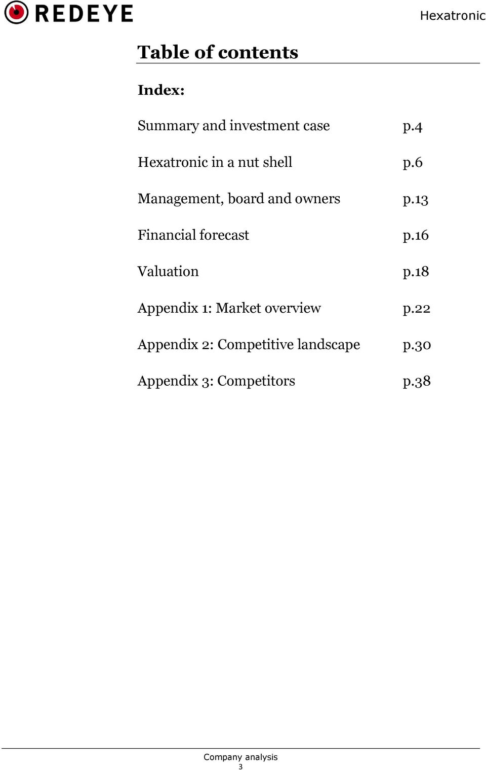 13 Financial forecast p.16 Valuation p.
