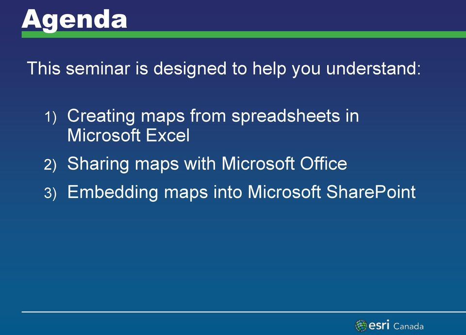 in Microsoft Excel 2) Sharing maps with