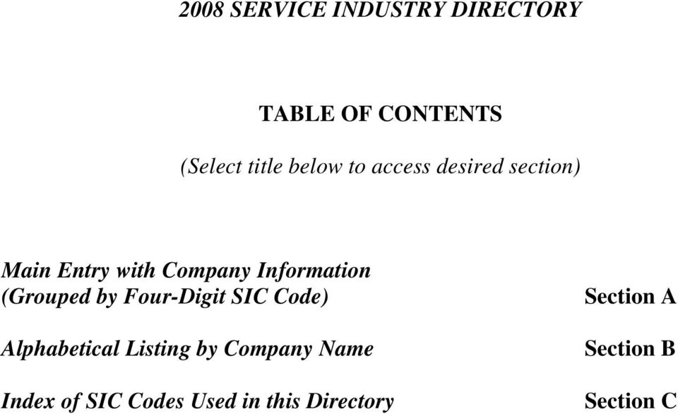 (Grouped by Four-Digit SIC Code) Alphabetical Listing by Company