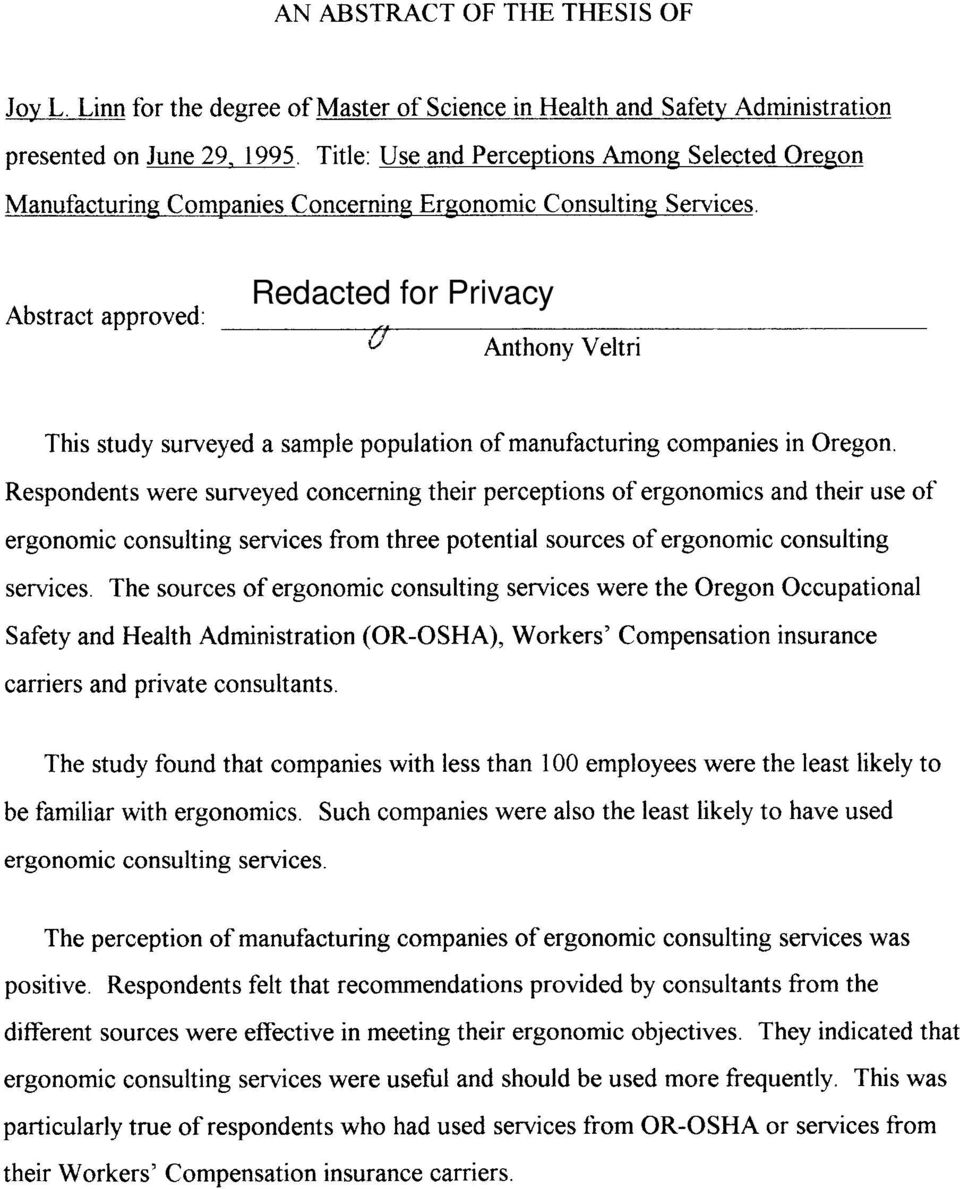 Abstract approved: Redacted for Privacy Anthony Veltri This study surveyed a sample population of manufacturing companies in Oregon.